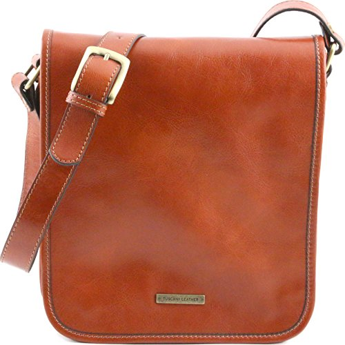 Tuscany Leather TL Messenger Two compartments leather shoulder bag Honey by Tuscany Leather
