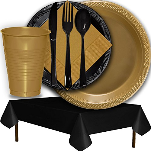 Plastic Party Supplies for 50 Guests - Gold and Black - Dinner Plates, Dessert Plates, Cups, Lunch Napkins, Cutlery, and Tablecloths - Premium Quality Tableware Set
