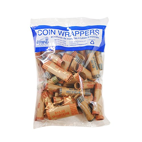 36 Assorted Preformed Coin Wrappers Made in The USA from Recycled Kraft Paper (36)
