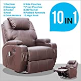 Swivel Chairs for Living Room SUNCOO Massage Recliner Leather Sofa Chair Ergonomic Lounge Heated with Cup Holder 360 Degree Swivel (Brown-10 IN 1)