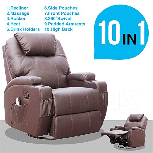 SUNCOO Massage Recliner Leather Sofa Chair Ergonomic Lounge Heated with Cup Holder 360 Degree Swivel (Brown-10 IN 1) Leather Home Massage Chairs