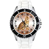 Toyger Cat White Jelly Silicone Band Unisex Sports Wrist Watch