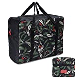 Foldable Travel Tote Bag Waterproof High Capacity Portable Storage Luggage Bag (Green Leaves)