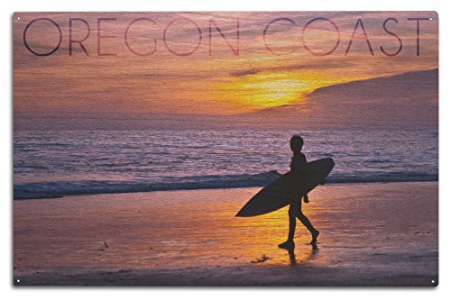 Lantern Press Oregon Coast - Surfer and Sunset (10x15 Wood Wall Sign, Wall Decor Ready to - Wood Surfer Sign