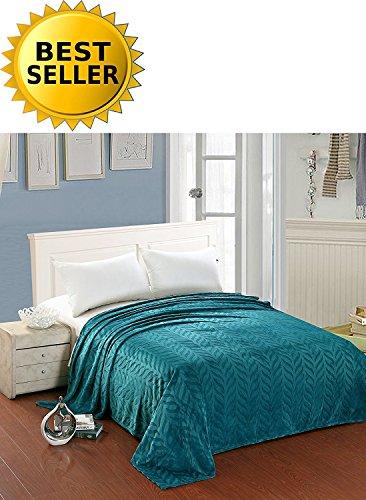 Fleece Blanket Pillow Pattern - Elegant Comfort All Season Luxury Micro-Fleece Ultra-Plush Warm Leaf Pattern Jacquard Blanket, Full/Queen, Teal Blue/Turquoise