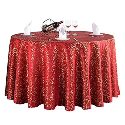 Woven Polyester 108' Round Tablecloth - Uforme Contemporary Sturdy Table Cloth Woven Fabric Fade Resistant 108 Inch Round Table Cover with Skirt for Parties, Red