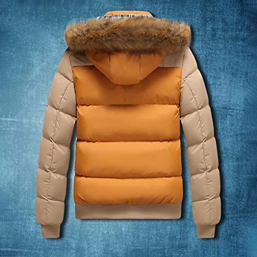 colore Da Giallo Giacca Cachi Invernale Dimensioni Cappuccio Uomo Lihua Imbottito Con M 1E0qq8