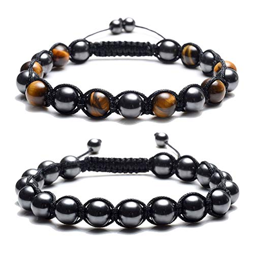 Top Plaza Men's Women's Reiki Healing Energy Natural Tiger Eye Stone Magnetic Hematite Therapy Beads Macrame Adjustable Braided Link Bracelet(Yellow Tiger Eye + Magnetic Hematite Beads)