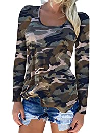 Womens Long Sleeve T-Shirts Casual Camouflage Printed O-Neck Tops Plus Size