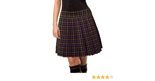7ab9239d5d7 Purple and green Schoolgirl Tartan Plaid Pleated Skirt Highbury Junior Long  at Amazon Women s Clothing store