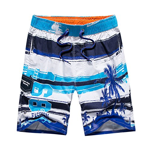 Gymleader Men's Beach Surfing Boardshorts Swimming Trunks Hawaiian Shorts (X-Large, LightBule)
