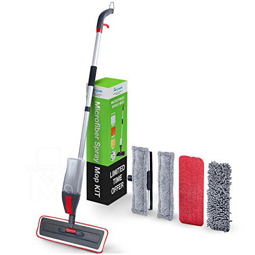 Wet Mop Kit (House Cleaning Spray Mop Kit - Mr.Cleann 2 in1 Set Includes Dry and Wet Cleaning Pad, 4 x Microfibre Cloth for Hardwood, Ceramic, Vinyl floors Plus Window Cleaner Squeegee)