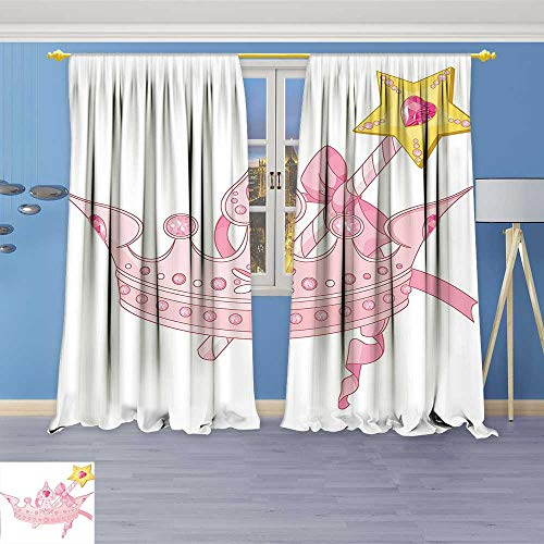 Philiphome Abstract Decor Curtains,Decor Crown and Magic Wand for True Princess Ribbon Golden Jewelry Antique Art,Living Room Bedroom Window Drapes 2 Panel (Monogrammed Jewelry Rolls)