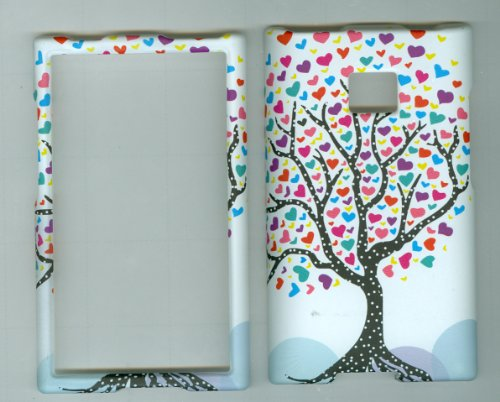 LG OPTIMUS LOGIC L35G L3 E400 DYNAMIC L38C Net 10 Straight Talk phone snap on hard rubberized case cover faceplate protector WHITE LOVE TREE HEART (Lg Optimus Logic Phones compare prices)