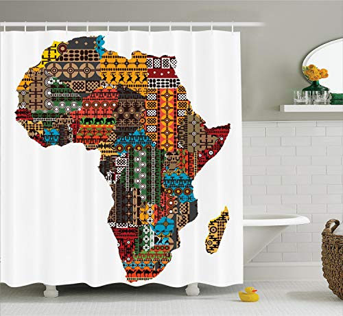 Ambesonne African Decorations Collection, Africa Map with Countries Made of Architectural Feature Popular Ancient Continent Art, Polyester Fabric Bathroom Shower Curtain, 84 Inches Extra Long, Multi