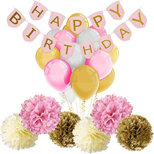 Paxcoo Pink and Gold Birthday Decorations with Happy Birthday Banner Pink and Gold Balloon and Paper Pom Poms for Party Decorations