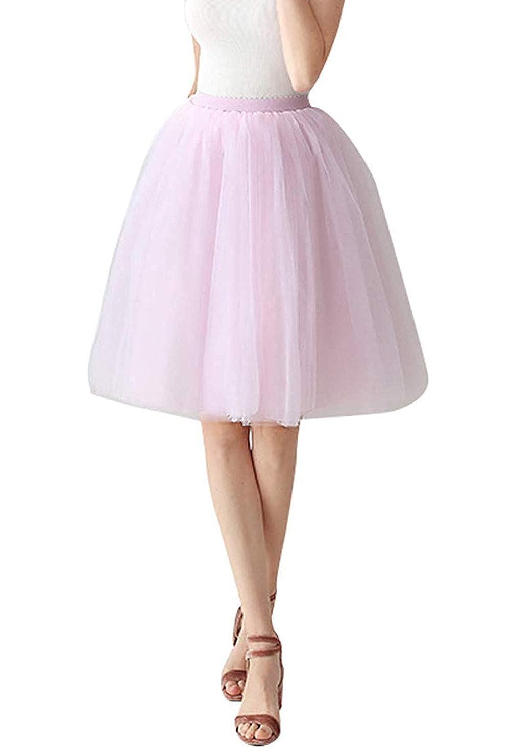 Anikigu Falda de Tulle para Mujer Cancan Enagua Faldas Princesas Vestido Ballet para Boda Noche Fiesta Disfraces Carnaval con Cintura El/ástica