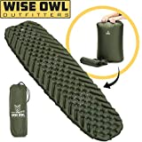Wise Owl Outfitters Camping Pad - Premium Inflatable Camping Sleeping Pad for Outdoor and Backpacking - Ultralight Compressible Camping Mat - Bubble Gear Design with Air Inflator Pump included (Green)