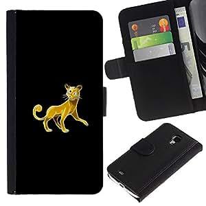 JackGot ( Meter Monster Golden Cat ) Samsung Galaxy S4 Mini i9190 (NOT S4) la tarjeta de Crédito Slots PU Funda de cuero Monedero caso cubierta de piel