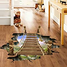 Marrikey Vivid Art 3D Bridge Floor Wall Stickers Removable Mural Decals with Vinyl High Quality PVC Support Clean Living Room Bedroom Office Lobby
