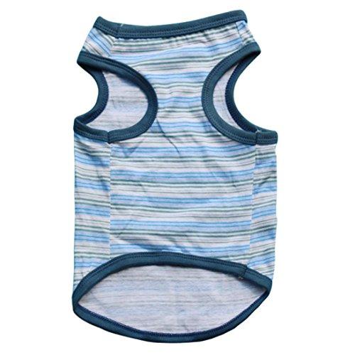 Picture of Voberry Small Dog Shirt, Pet Puppy Boys Clothes Summer Pet Dog Cat Stripe Shirt T Shirt Cute (XS, Blue)