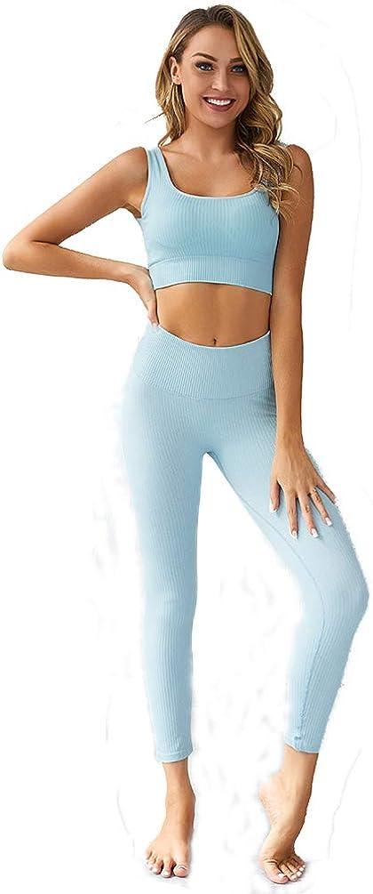 GladiolusA Yoga Conjunto De Mujer,Mujeres Sujetador Crop Top Y Leggings Fitness Leggings Yoga Set Sportwear Outfits para Gym Running Pilates Fitness Workout