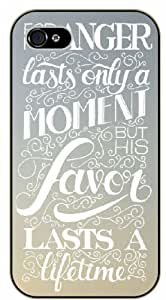 For his anger lasts only a moment but his favor lasts a lifetime - Bible verse iPhone 4 / 4s black plastic case / Christian Verses
