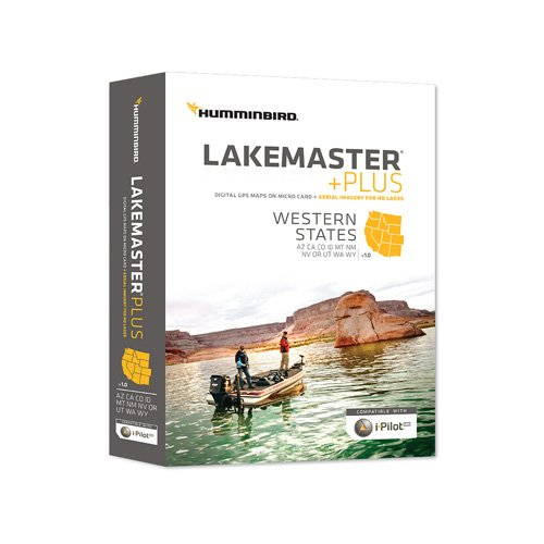 Image of Humminbird LakeMaster Plus Western States Edition Digital GPS Lake and Aerial Maps, Micro SD Card, Version 1