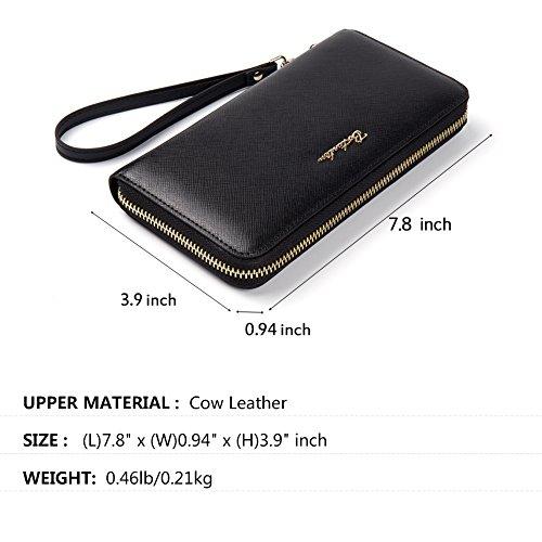 BOSTANTEN Women Leather Wallet Clutch Purses Card Cash Holder Long Wallets Black by BOSTANTEN (Image #1)