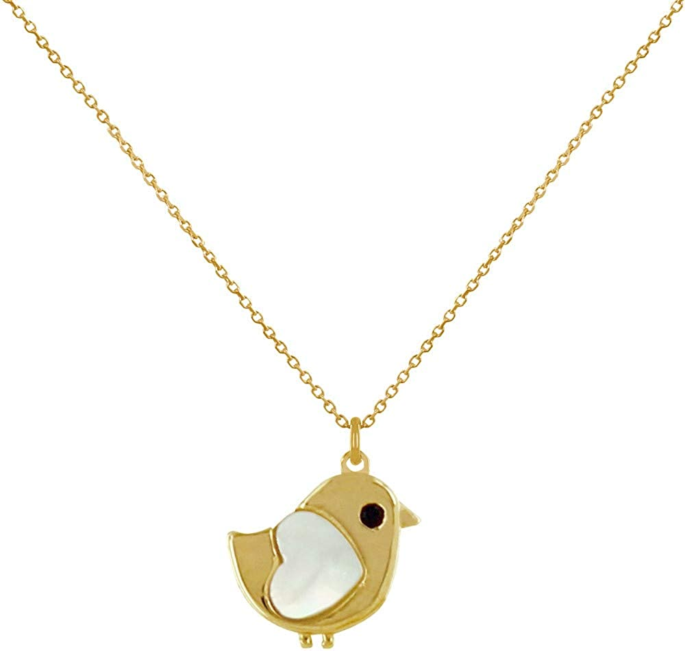 Gold Plated Necklace Little Bird and Mother of Pearl Heart Les Poulettes Jewels
