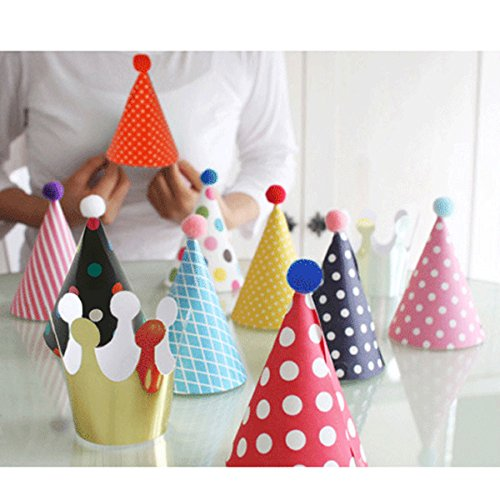 JiaHui Lovely Mini Paper Cone Birthday Party Hats for Children ,Fun Party Hats Set for Kids Birthday New Year, Hats Set of 9 Hats and 2 Crowns -