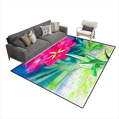 - Kids Carpet Playmat Rug Paintings Watercolor Landscape Original on Paper Colorful of Amaryllis Flowers 6'6