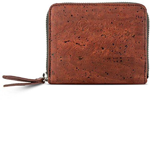 Corkor Cork Wallet Women RFID Blocking | Cards Coin Pocket | Small Vegan Clutch Red Color
