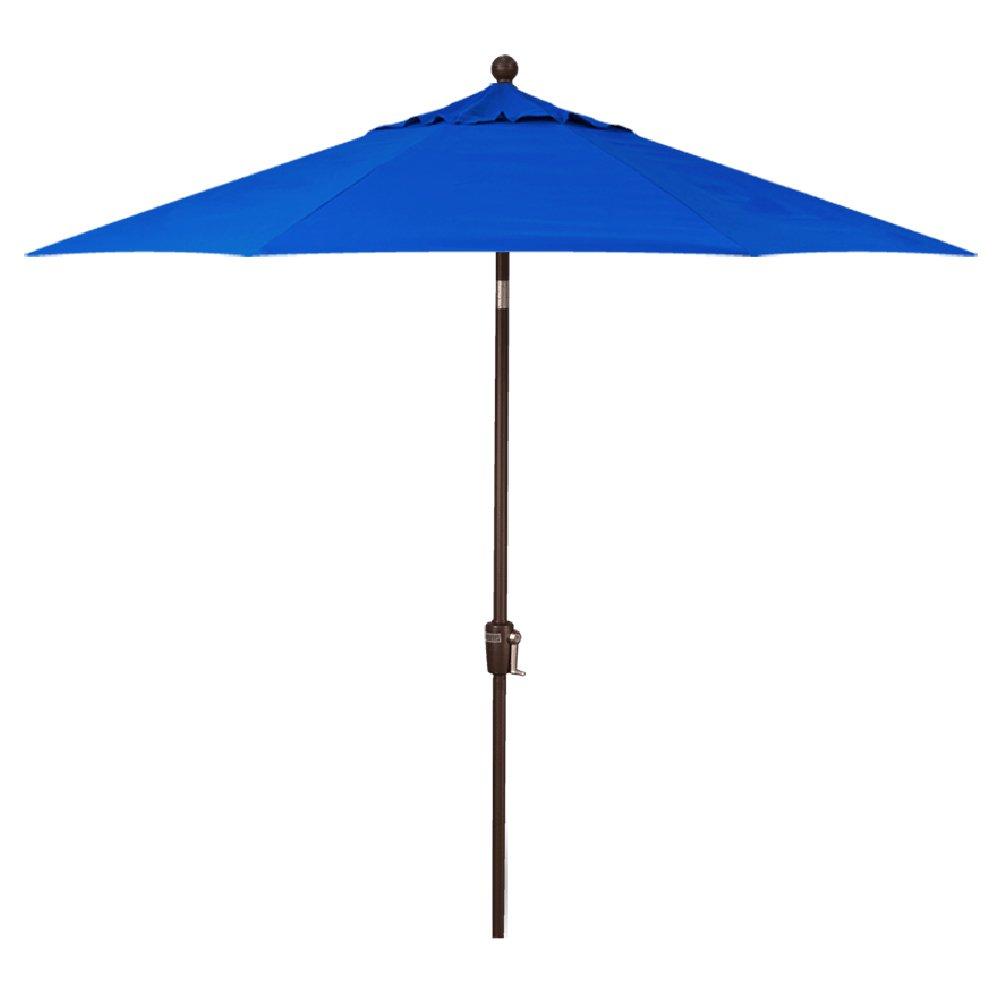Treasure Garden 9-Foot (Model 810) Deluxe Auto-Tilt Market Umbrella Bronze Frame Sunbrella Fabric: Pacific Blue