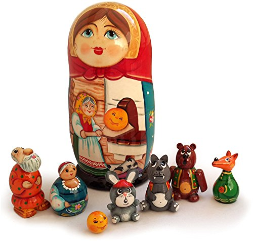 [Nesting Doll and Animal Figurines - The Little Round Bun (The Gingerbread Man) Fairytale Set of Handmade 8 Wooden Toys - Unique Matryoshka Dolls from] (Babushka Doll Costume)
