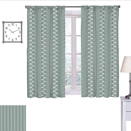 WinfreyDecor Spring Room Darkening Curtains for Bedroom Old Fashion Flowers with Rococo Influences Essence Lace Pattern Print Curtain Living Room Pale Sage Green White W55 x L63