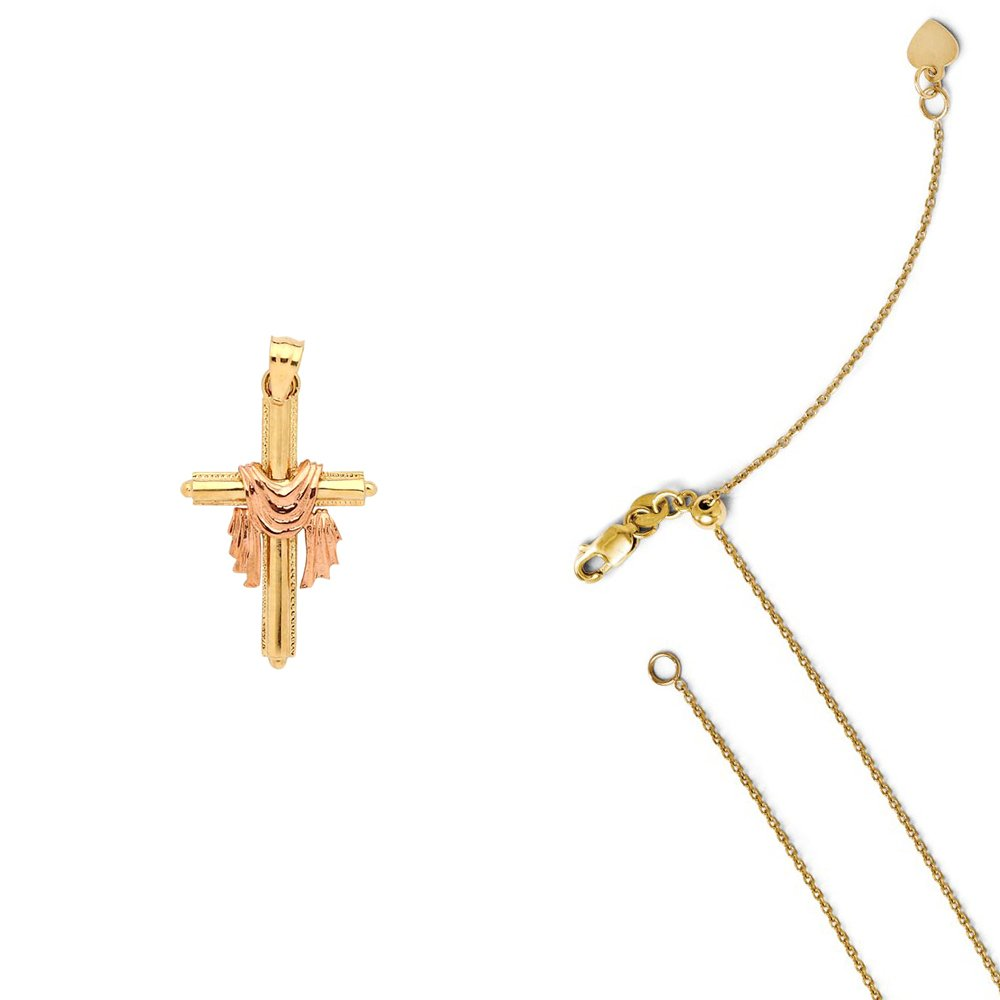 14K Two-Tone Gold Cross with Shroud Pendant on an Adjustable 14K Yellow Gold Chain Necklace