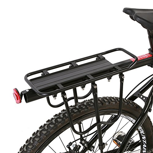 Greensen Rear Bike Rack - 110 Lb Aluminum Alloy Adjustable Mountain Bike Bicycle Rear Seat Luggage Shelf Rack Carrier Cycling Accessory by Greensen