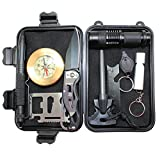 【LIGHTNING DEAL】10 in 1 Wild Survival Kit Briefcase EDC Outdoor Survival Kit Emergency Tool with Fire Starter Saber Card Flashlight Whistle etc by Boshiho