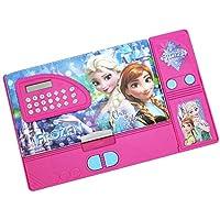 Kiku Frozen Movie Character Double Sided Pencil Box with Calculator, Jumbo Pencil Box, Kids Multi Purpose Pencil Box (Random Colour and Design) (for Girls)