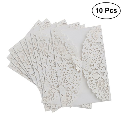 Tinksky wedding invitations - 10pcs Vertical Laser Cut Butterfly Invitations Cards Kits for Wedding Bridal Shower Birthday (White)