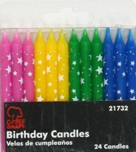 Birthday Candles, Polka Dot Stars, Set of 6 Packs