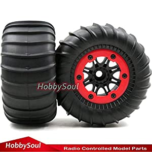 2pcs RC 2.2 Paddles Tires Sand Snow Tyre & Crawler 2.2 Beadlock Wheel Hex 12mm For RC 4WD Axial Tamiya and other 1/10 Crawler