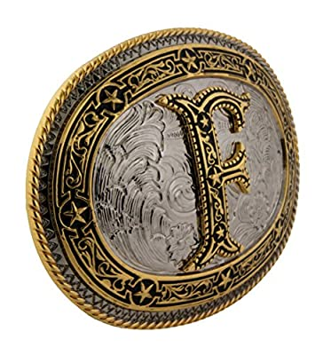 Initial Letter F Vintage Western Cowgirl Rodeo Costume Halloween Belt Buckle Big
