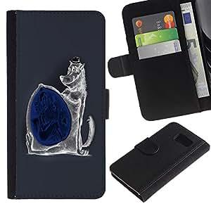 KingStore / Leather Etui en cuir / Samsung Galaxy S6 / Malvada divertida del lobo