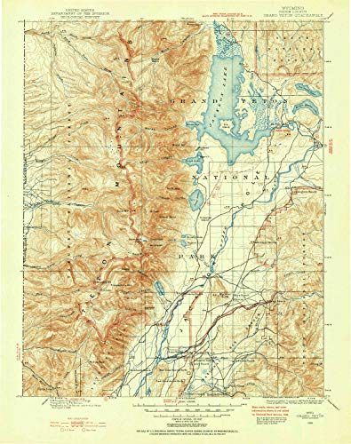 YellowMaps Grand Teton WY topo map, 1:125000 Scale, 30 X 30 Minute, Historical, 1899, Updated 1954, 20.7 x 16.4 in - Tyvek