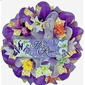 Easter Wreath He Is Risen Handmade Deco Mesh 23