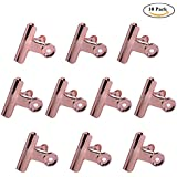 Rose Gold Bulldog Paper Clips, Coideal 10 Pack 2 Inch Stainless Steel Large Metal Binder/Hinge Clips Clamps for Pictures Photos, Home Kitchen, Office Supplies (51mm)