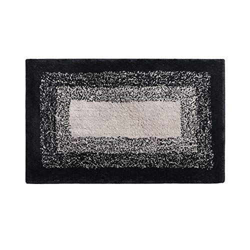- Bathroom Rug,HAOCOO Banded Ombre Black Bath Mat Non-Slip Door Carpet Soft Luxury Microfiber Machine-Washable Floor Rug for Doormats Tub Shower (18x26 inch)