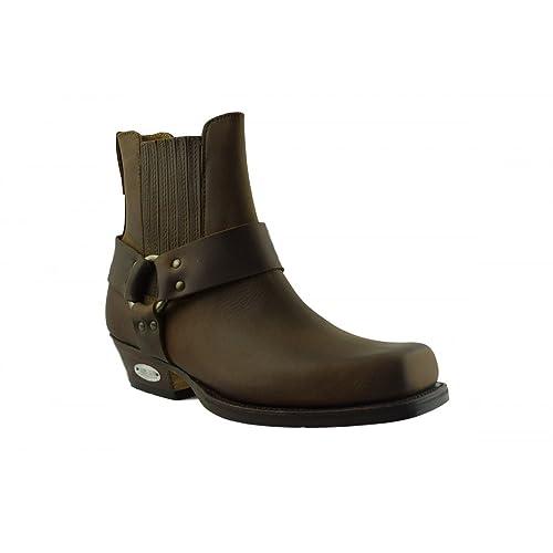 LOBLAN 096 Brown Waxy Leather Mens Short Boots Classic Biker Square Chisel Toe 0096 UK 10  EU 45  B007T9JVGO